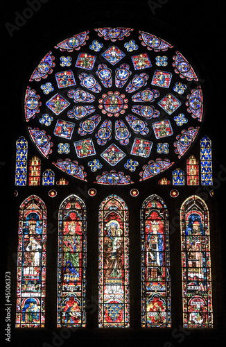 Fotografie, Obraz  Chartres - Cathedral, stained glass window