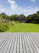 canvas print picture - Gartenanlage mit Terrasse