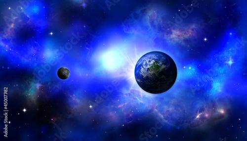 Fotografia, Obraz  Earth and moon in magical space