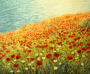 Fototapeta Krajobraz Poppies at the Seashore