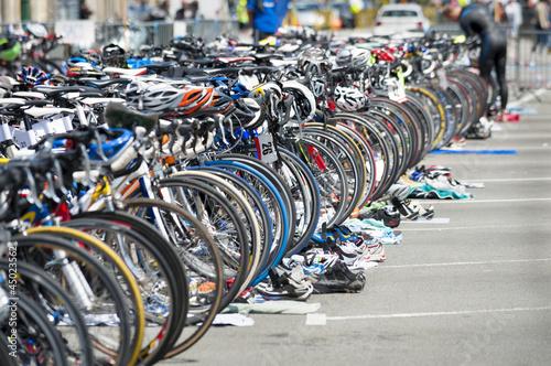 Poster Amsterdam bicycle waiting at triathlon