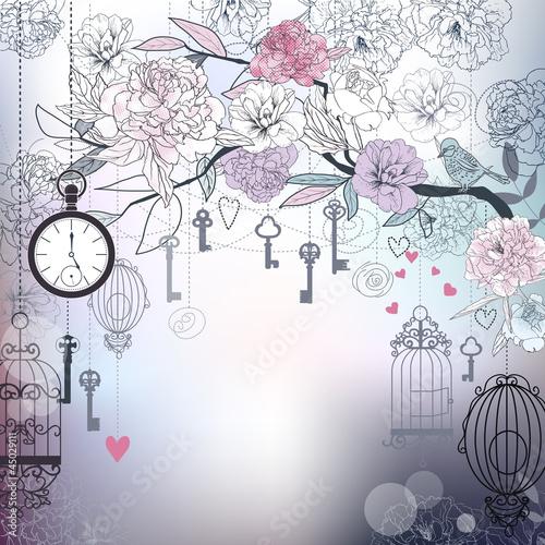 Foto op Aluminium Vogels in kooien Floral background