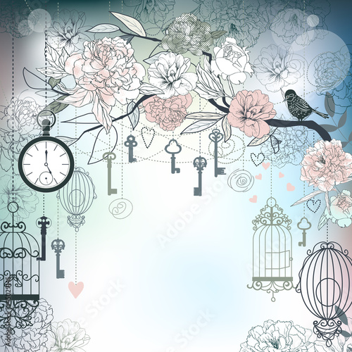 Poster Birds in cages Floral background