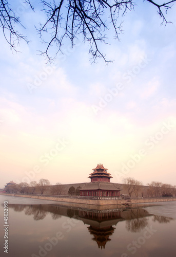 Foto op Aluminium Beijing turret of the palace museum in sunset at beijing (HRD)