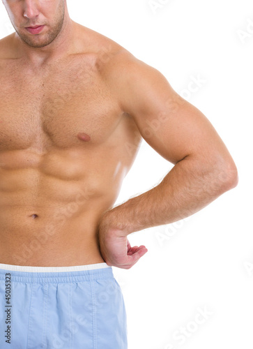 Poster Akt Closeup on strong abdominal muscles