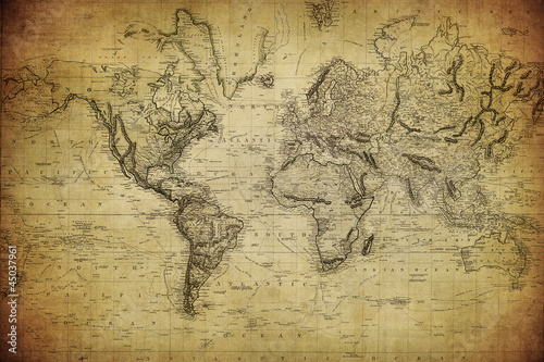 vintage map of the world 1814.. Wallpaper Mural