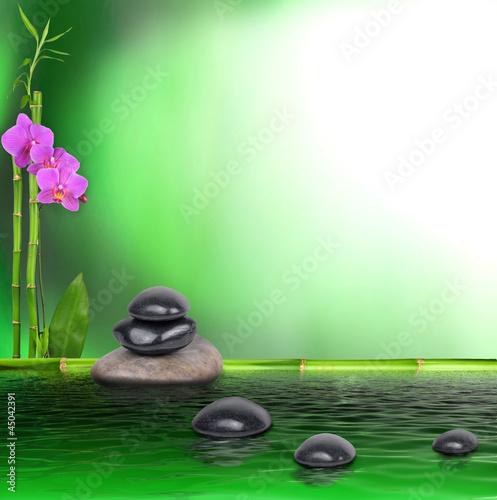 Doppelrollo mit Motiv - Bambus, Orchidee und Steine