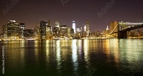 Fototapety, obrazy: Manhattan bridge and skyline
