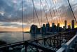 Panoramic shot of Manhattan skyline and Liberty island