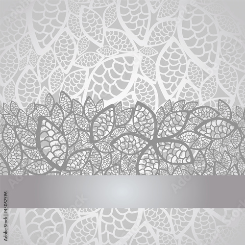 Valokuva  Luxury silver leaves lace border and background