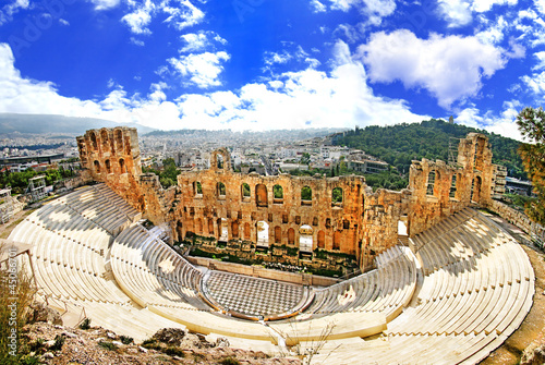 Photo Stands Athens ancient theater in Acropolis Greece, Athnes