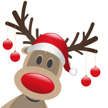 Rudolph Reindeer Red Nose Christmas Balls