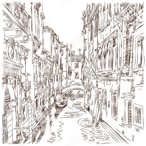 Cadres-photo bureau Illustration Paris Venice - water channel, old buildings & gondola away. Vector ske