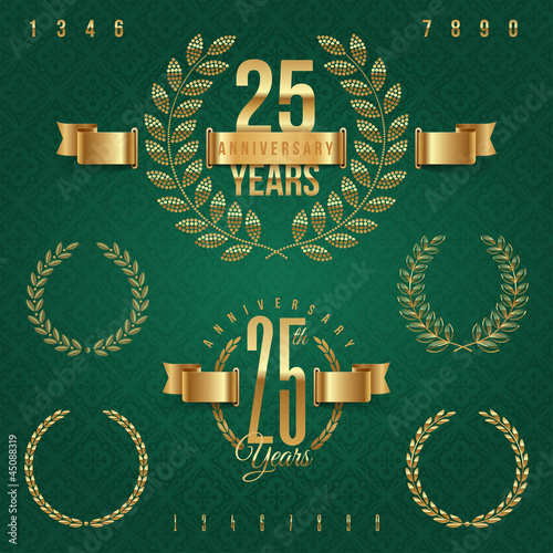 Fotografie, Obraz  Anniversary golden emblems and decorative elements