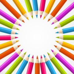 Fototapeta samoprzylepna Back to school pencil rainbow circle