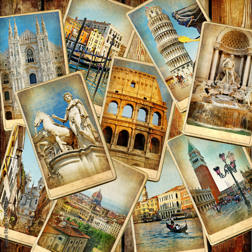 Obraz w ramie travel in Italy - vintage collage from old cards