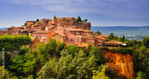 Roussillon village sunset view, Provence, France Canvas Print