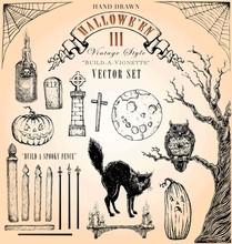 Vintage Halloween Vector Set 3