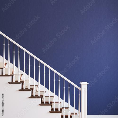 White stairway. Fototapeta