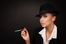 Adult Woman Smoking Cigarette In Bar