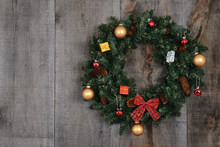 Decorated Christmas Wreath On ...