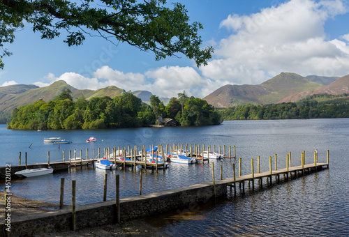 Boats on Derwent Water in Lake District Fototapeta