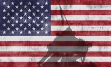 Bandera Americana Con La Sombr...