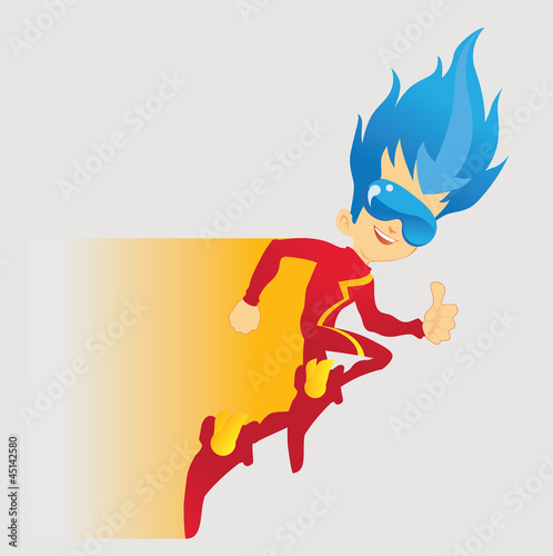 Poster Superheroes Running With Thumbs-up
