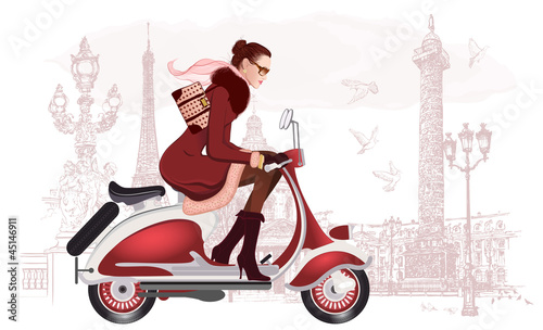 Poster de jardin Illustration Paris woman riding a scooter