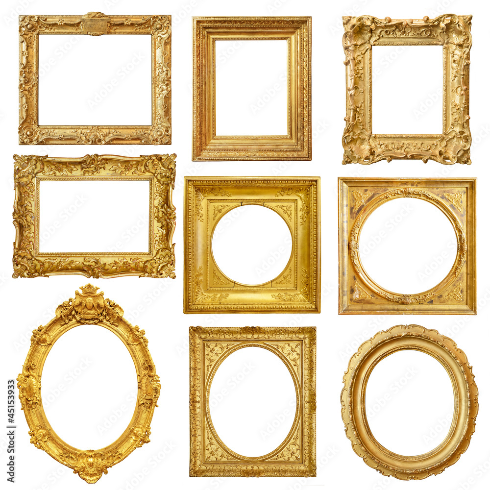 Fototapety, obrazy: Set of golden vintage frame isolated on white background