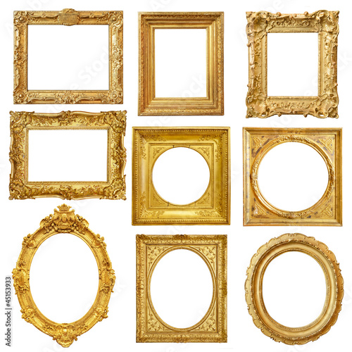 Photo sur Toile Retro Set of golden vintage frame isolated on white background