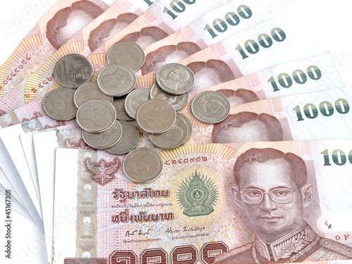 Banknotes of 1000 Thai Baht and Coins Fototapeta