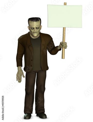 Poster de jardin Doux monstres Frankenstein holding placard