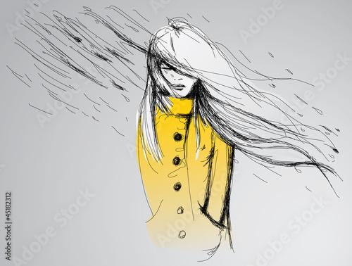Obraz w ramie Ilustracja kobieta w deszczu