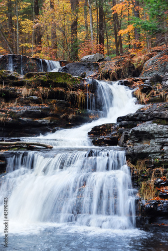 Autumn Waterfall in mountain - 45190403