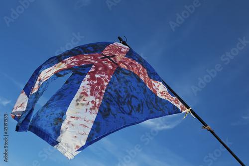 Fototapeta Blood stained torn scottish flag