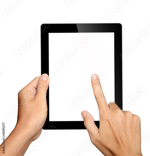 Fotografia  hands holding and touching on tablet pc isolated