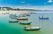Hua- Hin Beach. And Boat,