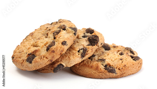 Fotografía  Chocolate chips cookies isolated on white.