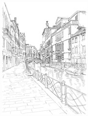 Venice - Fondamenta Rio Marin. Vector drawing
