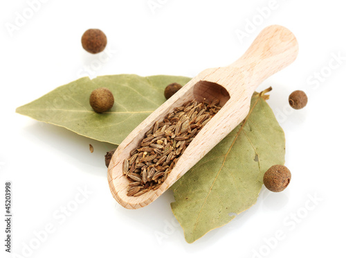 Canvas Prints Herbs 2 wooden shovel with cumin on bay leaves isolated on white