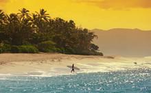 Surfer Am Strand Von Hawaii