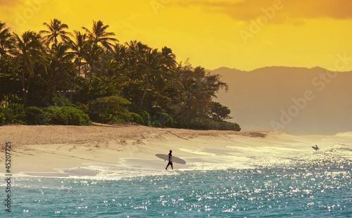 Foto Rollo Basic - Surfer am Strand von Hawaii