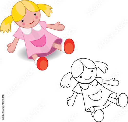 Fotografie, Obraz  Coloring book. Girl doll toy