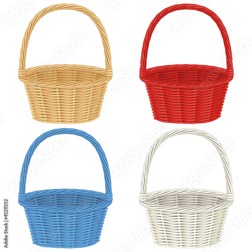 Fotografie, Obraz  Colorful baskets  isolated on white background