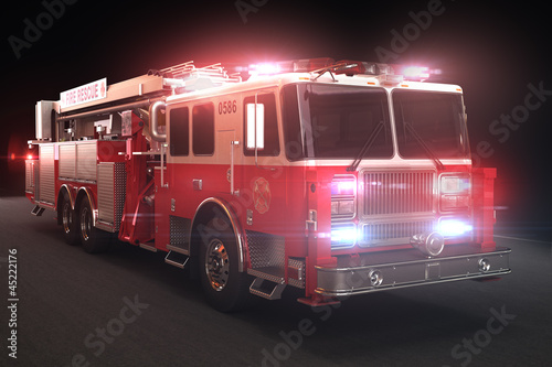 Canvas Print Fire truck with lights