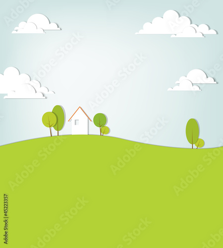 Deurstickers Wit landscape with a house on the hill