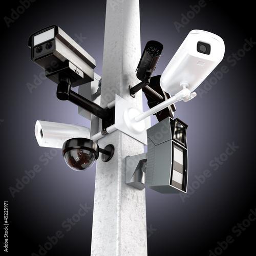 Surveillance mega camera's concept with a gradient background