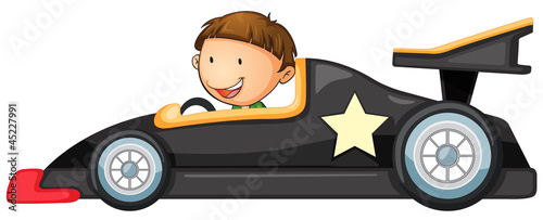 a boy driving a car
