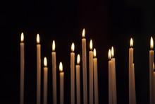 Closeup Of Votive Candles